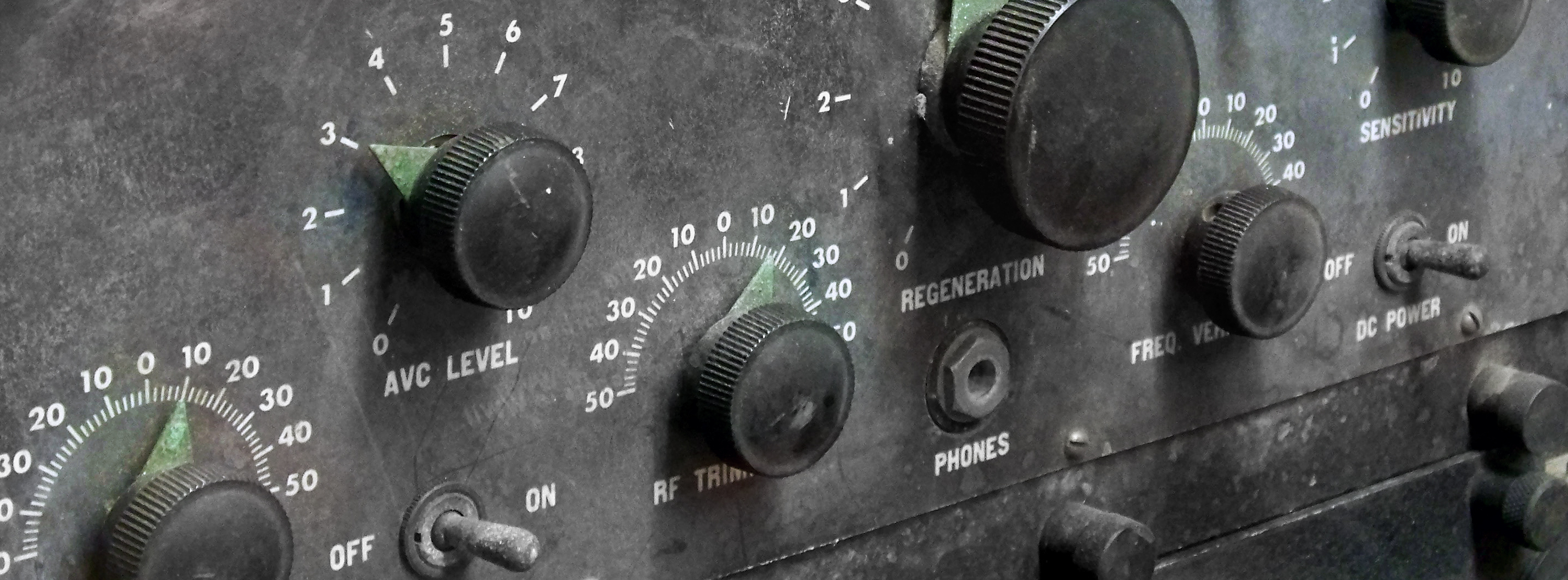 Old control panel with dial indicators.