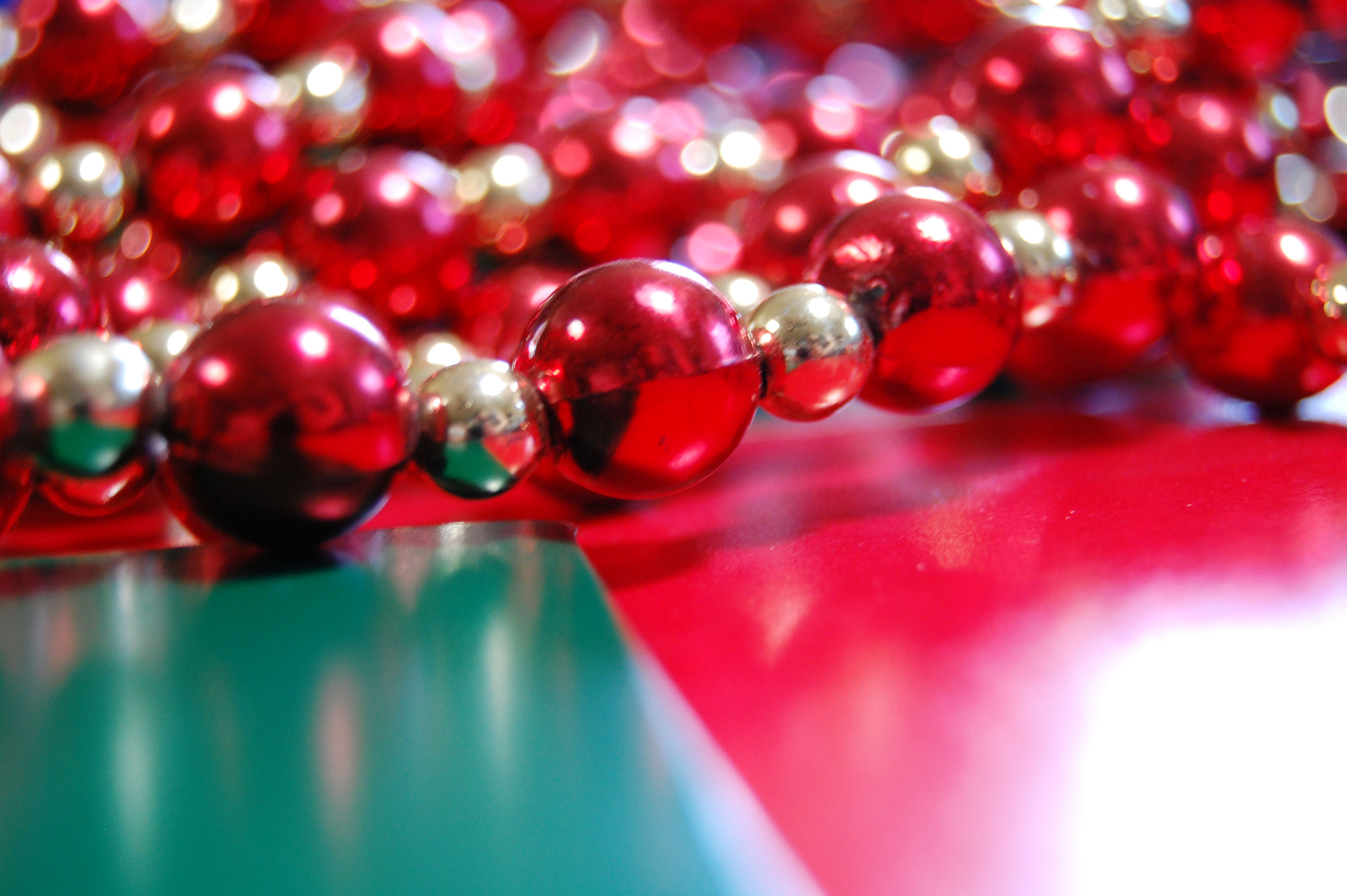Christmas bead garland over present